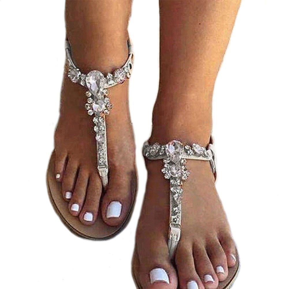 azmodo Women's Summer Sandals Flat Rhinestones Flip Flops Shoes (Plus Size Available) (US 11/EU 43/CN 44) Y16-3