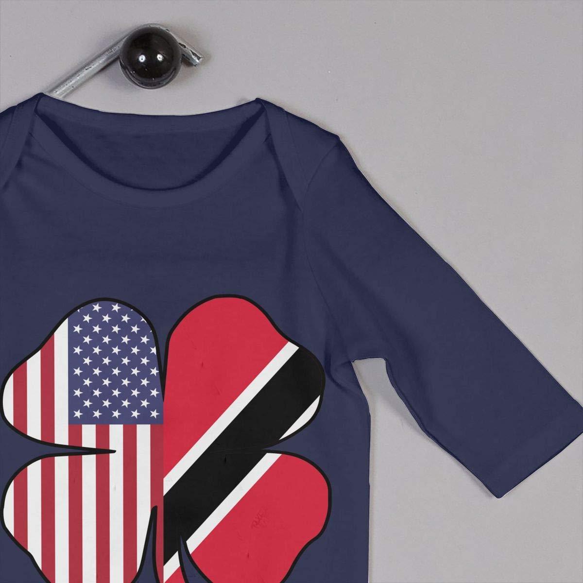 Newborn Kids Long Sleeve Jumpsuit American Trinidad Flag Shamrock Toddler Jumpsuit