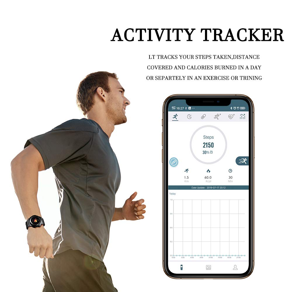 Smart Watch for Men Compatible with Android iPhone Samsung, Heart Rate Blood Pressure Oxygen Sleep Monitor Pedometer GPS, Waterproof Sport Fitness Tracker Smartwatch by LB LIEBIG (Image #4)