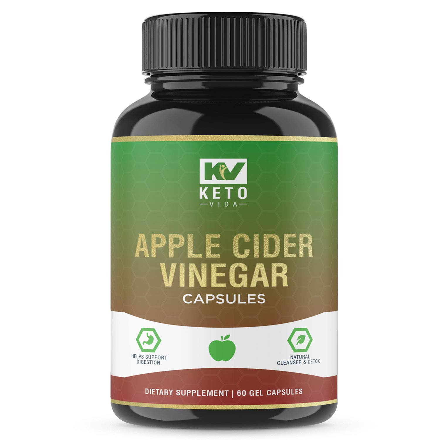 Apple Cider Vinegar Pills - Natural Detox and Weight Loss for Women and Men, Effective Cleanse to Help Digestion and Bloating Relief, Organic Extra Strength ACV Capsules by Keto Vida (Image #1)
