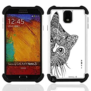 - Cat Cartoon Cute - - Fulland Deluxe Hybrid TUFF Rugged Shockproof Rubber + Hard Case Cover FOR Samsung Galaxy Note 3 III N9000 N9008V N9009 Queen Pattern