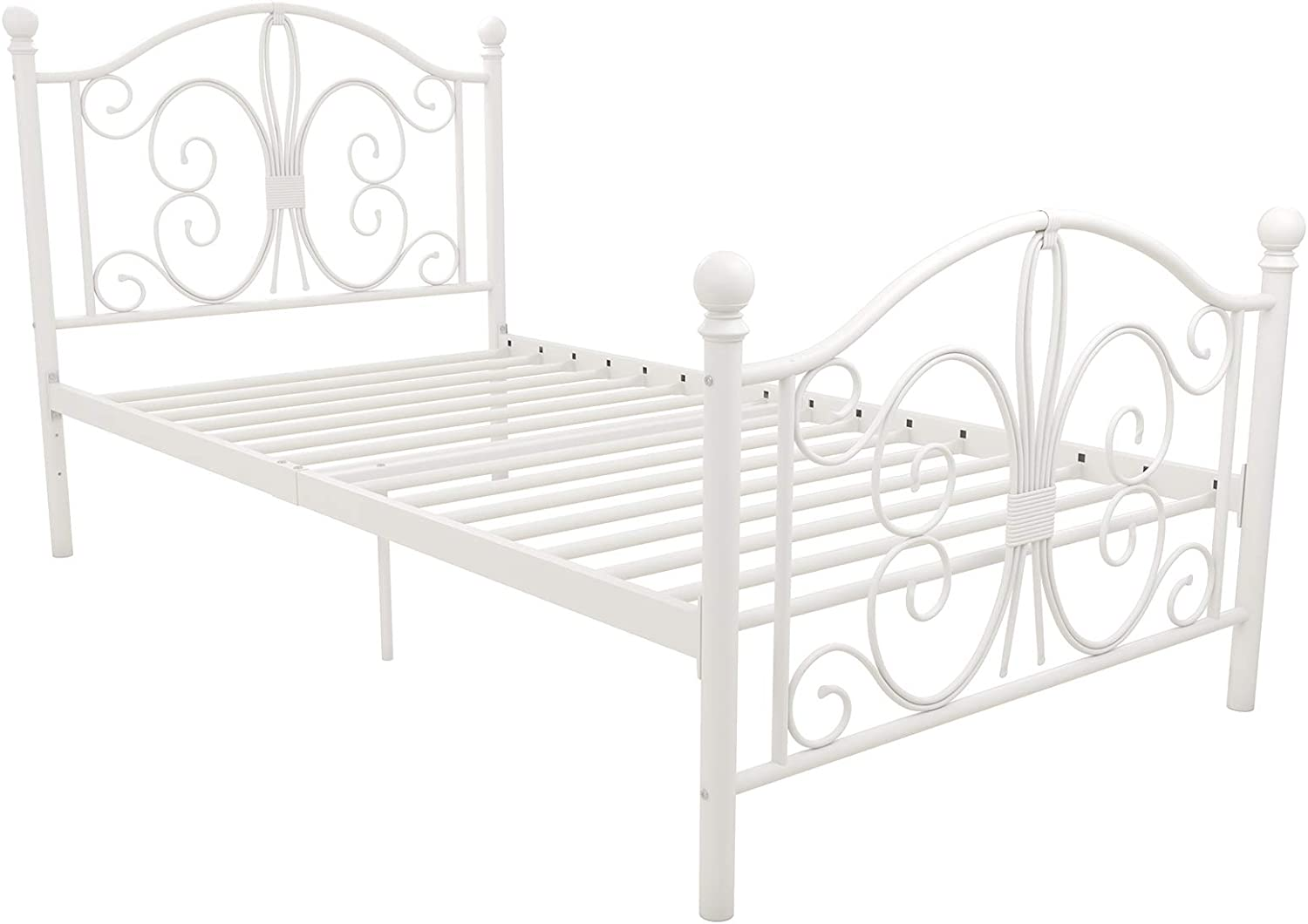 DHP Vintage Design Bombay Bed Frame with Metal Slats, Twin, White