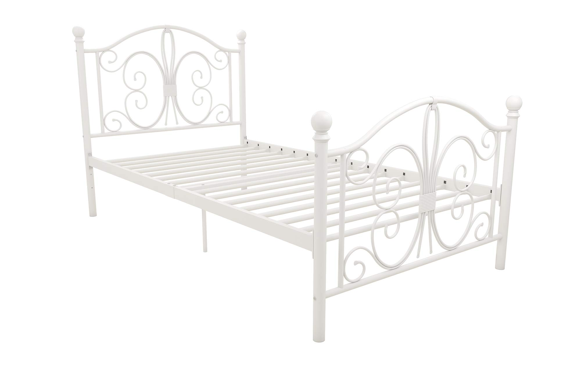 DHP Vintage Design Bombay Bed Frame with Metal Slats, Twin, White by DHP