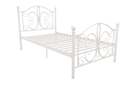 DHP Bombay Metal Bed Frame, Vintage Design and Includes Metal Slats, Twin Size, White