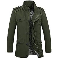 Hanomes Herren Jacke,Herren Winter Warme Mode Einfarbig Mantel Casual Pilotenjacke Lose Sweatshirt 2 in 1 Reißverschluss Knopf Funktionsjacke