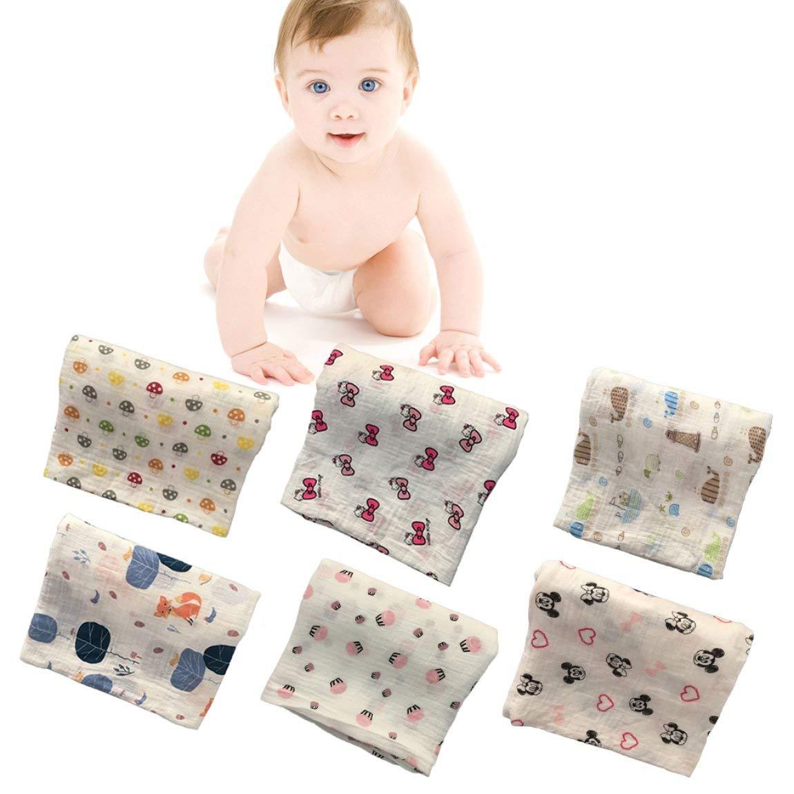 Farbe: mehrfarbig 120x120cm Musselin Baby Wickeldecke Baby Wickel Baumwolle 100/% Neugeborenes Baby Badetuch Wickeldecken Multi Designs Funktionen