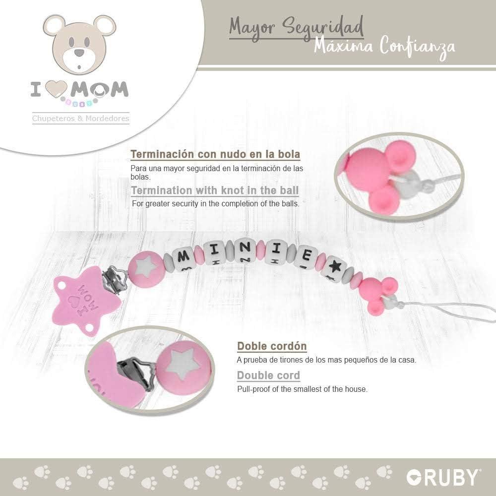 RUBY Chupetero Personalizado para Bebe con Nombre Bola Silicona Antibacteriana con Pinza de Acero Inoxidable Rosa Pastel Cord/ón, Pack Chupetes 0-6m