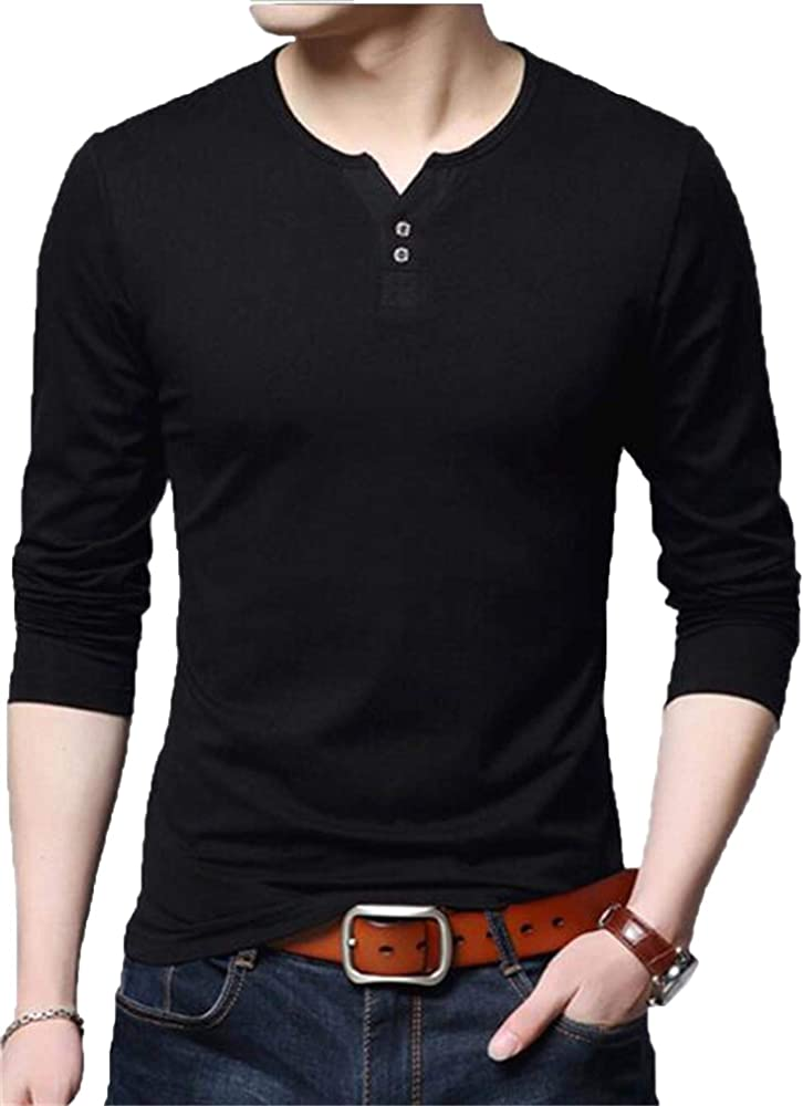 AIYINO - Camiseta de manga larga para hombre, diseño de Henley Manga larga Negro M: Amazon.es: Ropa y accesorios
