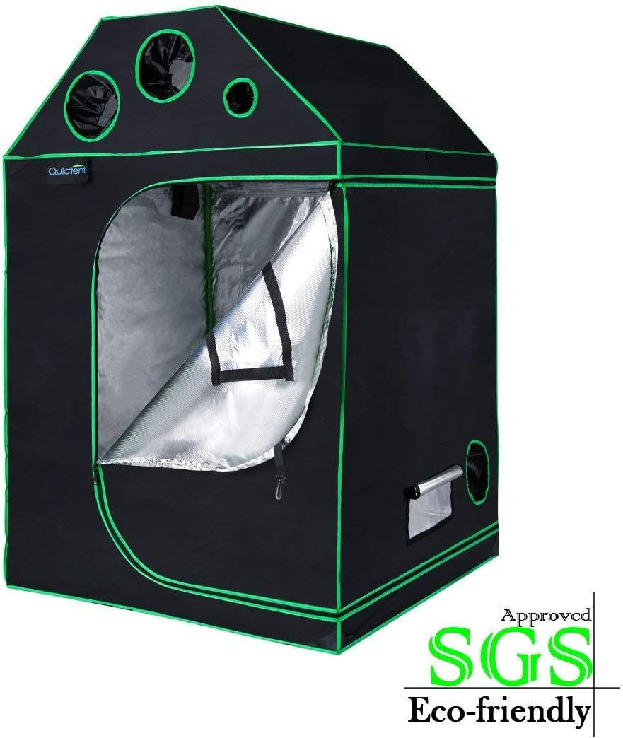 Quictent 48 x48 x71 SGS Approved Eco-Friendly Reflective Mylar Hydroponic Roof Cube Grow Tent with Door Hook and Waterproof Floor Tray Indoor Plant Growing, 4 Nylon Belts Provided
