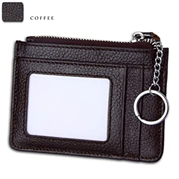 Crédito Tarjetas Billetera Minimalista delgado bolsillo frontal RFID bloqueando carteras de cuero para hombres, mujeres, cuero genuino ID ventana caja de ...
