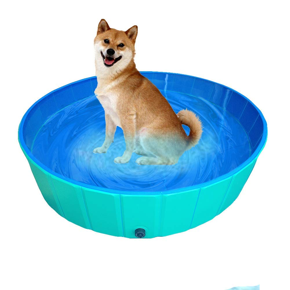 Delifur Foldable PVC Dog Cat Water Pool Pet Outdoor Swimming Playing Pond (Blue,XL)