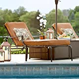 Hampton Bay Oak Heights Metal Outdoor Patio Chaise Lounge with Cashew Cushions