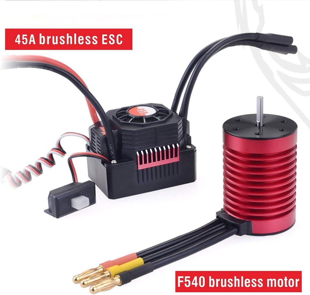 Zhaowei F540 3000 /4370KV Brushless Motor w / 45A ESC Waterproof Combo for 1/10 RC Car (Red, 4370KV Motor+45A ESC)