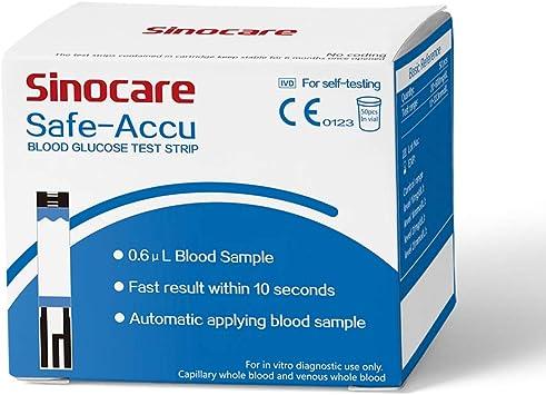 50 tiras reactivas para medidor de glucosa en sangre Safe Accu: Amazon.es: Salud y cuidado personal