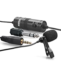 Boya by-M1 Lavalier Microphone Lapel Microphone Clip-on Omnidirectional Condenser for Smartphones, DSLR Cameras, Camcorders, Audio Recorders, PCs