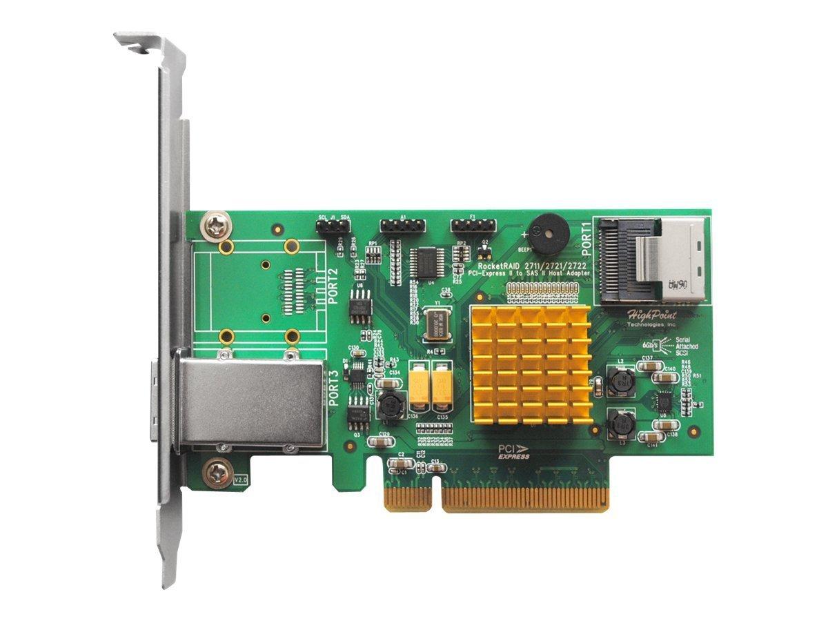 HighPoint RocketRAID 2721 4-Port Internal / 4 Port External SAS 6Gb/s PCIe 2.0 x8 RAID HBA