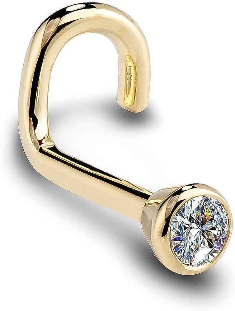 FreshTrends 14K Yellow Gold Diamond Nose Ring with Flush Bezel Setting - 20 Gauge, I1