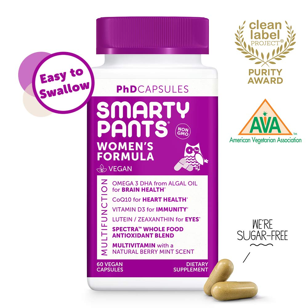 SmartyPants Daily Multivitamin for Women: Vitamin D, C, D3, E, B12 for Energy, COQ10, Omega 3 DHA, Iodine, Lutein, Folate, Vegan, Easy to Swallow Capsules, 60 count (30 Day Supply) Packaging May Vary