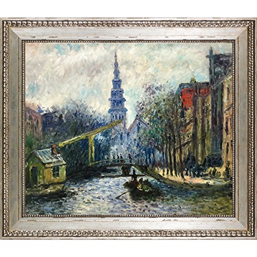 Amsterdam Oil - La Pastiche Framed Oil Painting Canal in Amsterdam, 1874 Claude Monet
