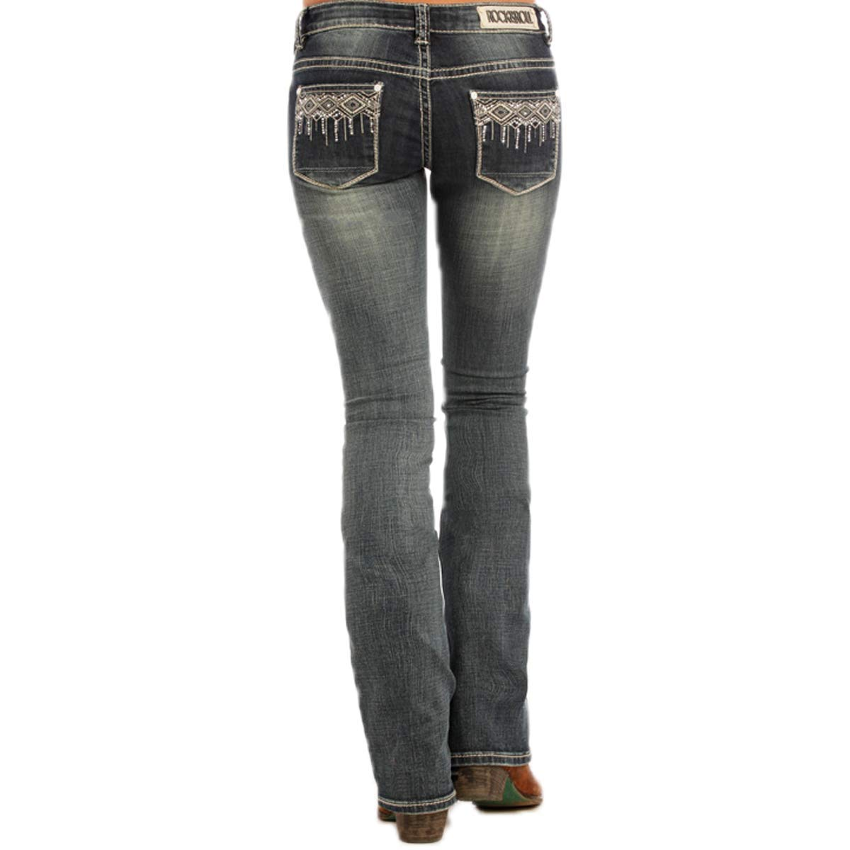 Rock /& Roll Cowgirl Rival Low Rise Bootcut Aztec Rhinestone Jean W6-1382 26x34