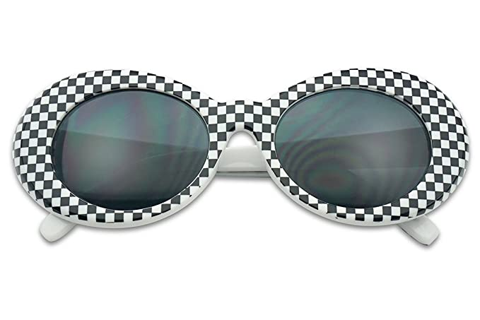ffab51a492f61 Original Classic Dark Oval Lens Kurt Cobain Inspired Nirvana Bold Trending  Sunglasses (Black Checkered