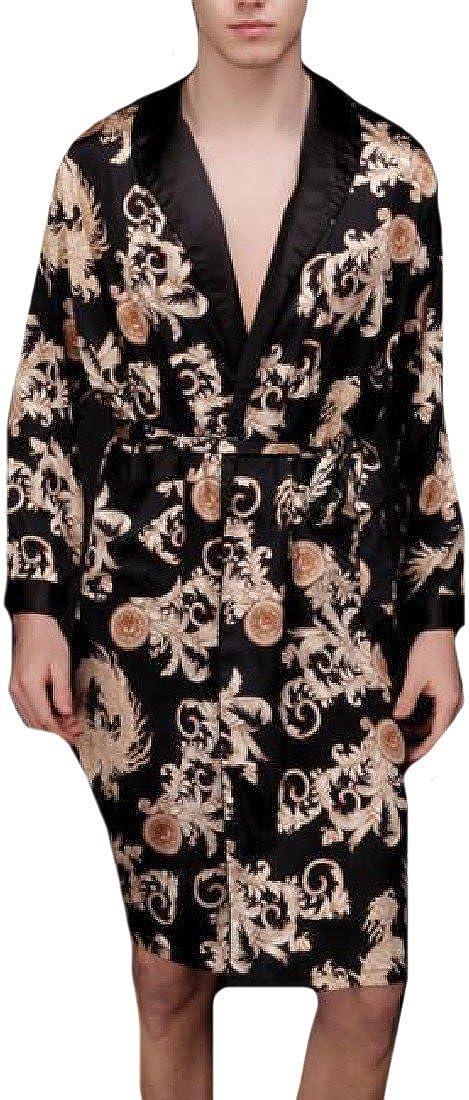 Comfy Mens Shawl Collar Floral Print Smoking Jacket with Pockets