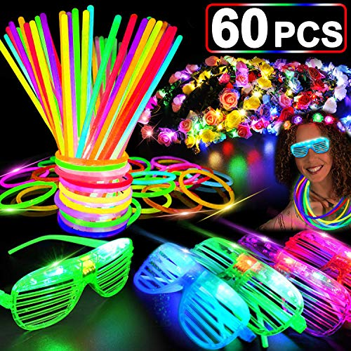 60 PCS Glow in the Dark Party Supplies Glow Sticks Bulk 2020 New Year LED Party Favor Light Up Toys Kid/Adults 50 Glow Sticks Necklaces Bracelets / 5 Light Up Glasses/ 5 Led Flower Crown