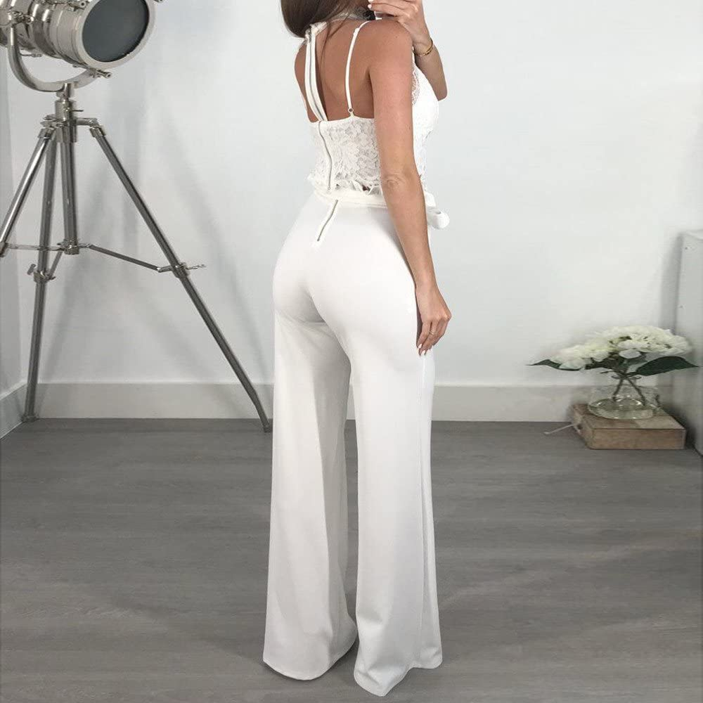 Kaicran Women Ruffle High Waist Casual Pants Fashion Color Block Drawstring Pants with Pockets