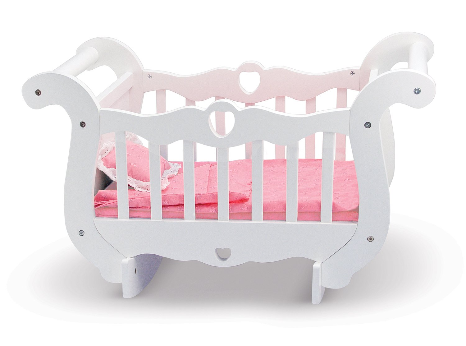 Melissa & Doug White Wooden Doll Crib With Bedding (30 x 18 x 16 inches) Melissa and Doug 9385