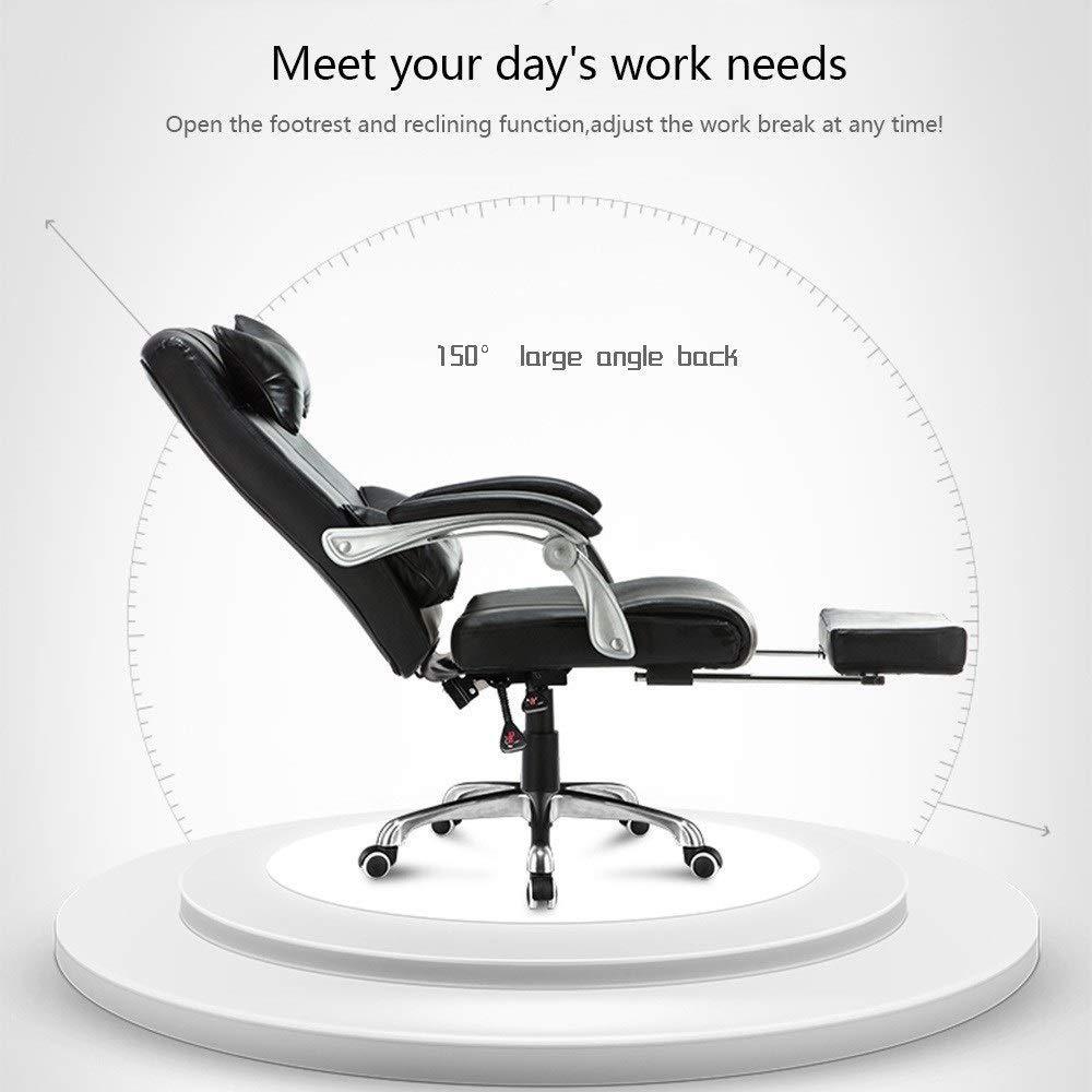 Dalovy bekväm datorstol höjd justerbar dator skrivbordsstol med fotstöd hög rygg PU-läder spelskrivbordsstol ergonomisk kontorsstol med nackstöd och ryggstöd Svart