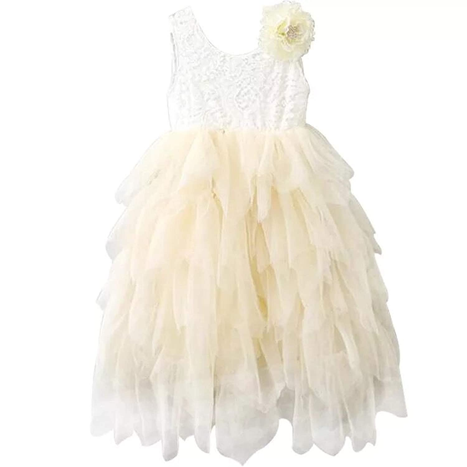 9028149e8f2 Flower Lace Back Dress Size And Color Suitable for 1-8Years old kids  princess.NOTE Sleeveless Color  white + peach