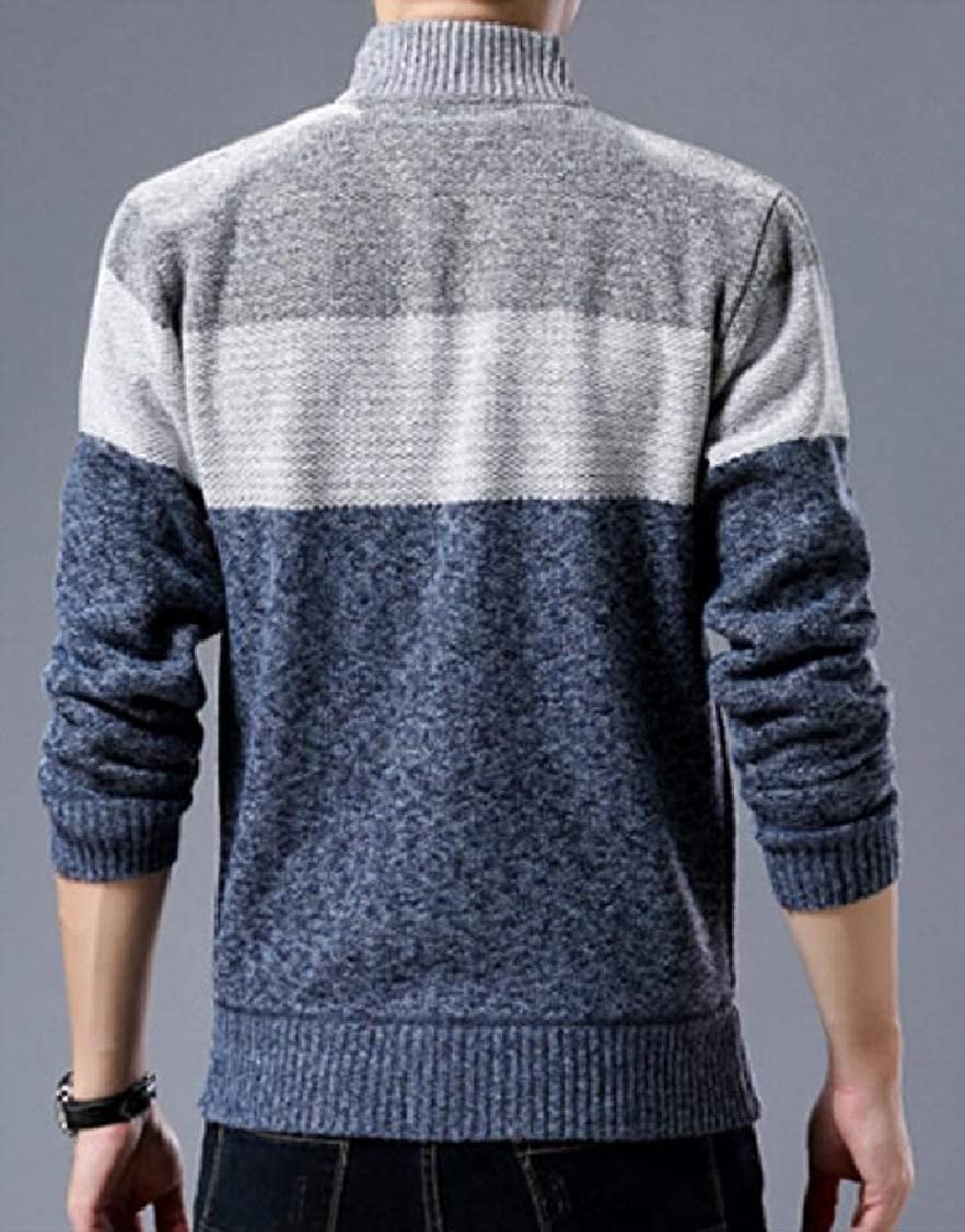 DressU Mens Stand-up Collar Zipper Patched Long-Sleeve Contrast Sweater Outwear