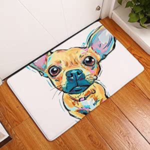 "YJBear YJ Bear Thin Brown Chihuahua Pattern Floor Mat Coral Fleece Home Decor Carpet Indoor Rectangle Doormat Kitchen Floor Runner 16"" X 24"""