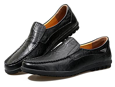 f424558aff37 RESPEEDIME Men s Casual Peas Shoes Comfort Soft Leather Shoes Breathable  Oxford Shoes Black 4.5UK