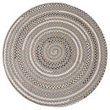 LOCHAS Natural Fiber Braided Area Rug Hand Woven Reversible Round Solid Jute&T/C Carpet for Living Room Bedroom Kitchen Bathroom Rugs(3.2' x 3.2'),Grey-Yellow