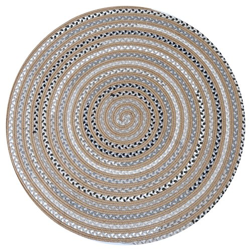 Braided Area Rug Hand Woven Reversible Round Solid Jute&T/C Carpet for Living Room Bedroom Kitchen Bathroom Rugs(3.2' x 3.2'),Grey-Yellow ()