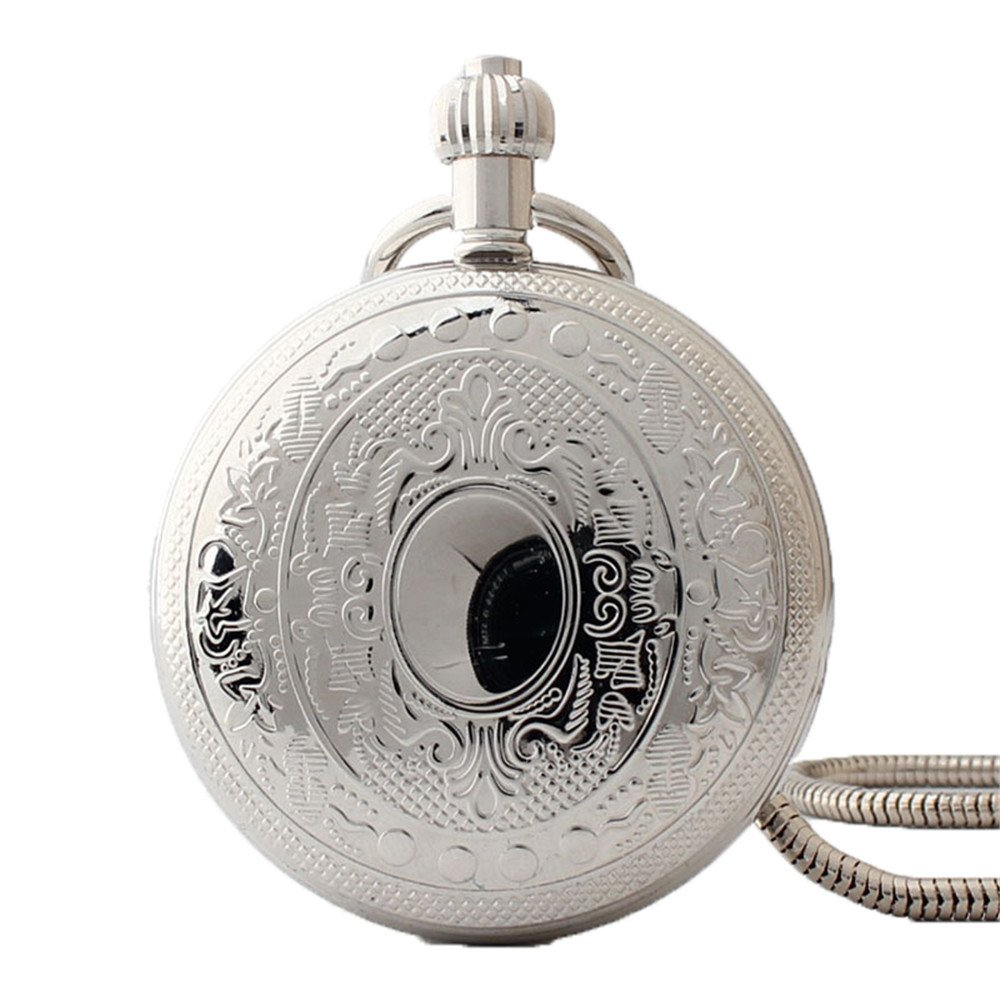 Zxcvlina Classic Smooth Exquisite Silvery Pocket Watch Men Women Creative Mechanical Pocket Watch with Chain for Birthday Gift Suitable for Gift Giving by Zxcvlina (Image #1)