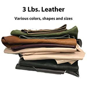 3 lbs Leather Scrap for Crafts - remnants, Various Colors and Sizes - 10-20 Pieces