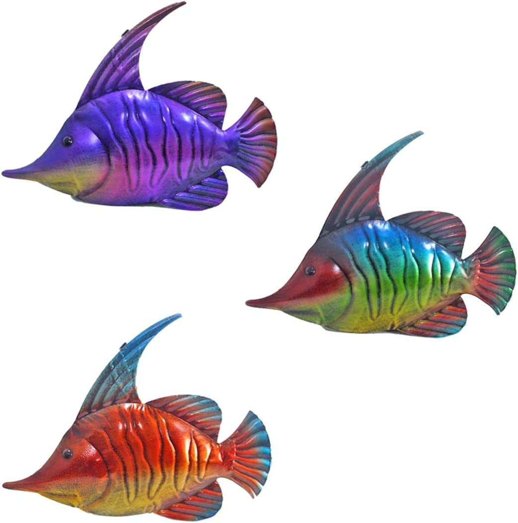 3 PACK Fish Wall Art Wall Decorations for Indoor Outdoor, Beach Theme Metal Wall Art Decor for Pool, Patio, Bathroom or Garden -14