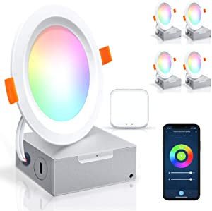 Led Recessed Lighting Ultra-Thin 4 Inch-4 Pack PETEME WiFi Smart Controllable Downlight RGBCW 10W, Cool & Warm White Adjustable 800LM High Brightness with J-Box, Compatible with Alexa/Google/Siri