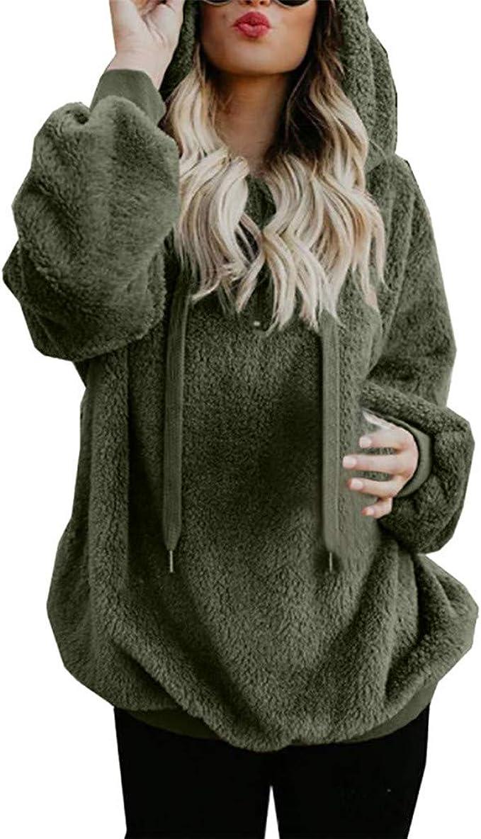 Women Fleece Fluffy Teddy Bear Hoodie Hooded Sweatshirt Jacket Long Coat Outdoor