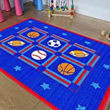 Champion Rugs Kids / Baby Room / Daycare / Classroom Area Rug. Sports. Football. Basketball. Soccer and Baseball. Play Mat. Blue. Bright Colorful Vibrant Colors (3 Feet X 5 Feet)