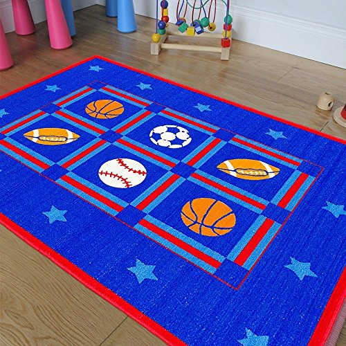Champion Rugs Kids / Baby Room / Daycare / Classroom Area Rug. Sports. Football. Basketball. Soccer and Baseball. Play Mat. Blue. Bright Colorful Vibrant Colors (3 Feet X 5 Feet) by Champion Rugs