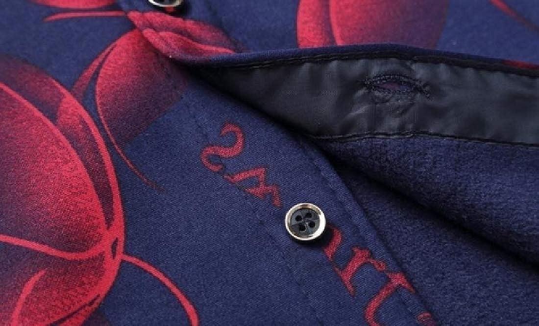 YUNY Men Plus Size Plaid Casual Tops Plus Velvet Button Down Dress Shirts Red L