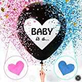 Sweet Baby Co. Jumbo 36 Inch Baby Gender Reveal Balloon | Big Black Balloons with Pink and Blue Heart Shape Confetti Packs for Boy or Girl | Baby Shower ...