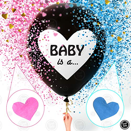 Sweet Baby Co. Jumbo 36 Inch Baby Gender Reveal Balloon | Big Black Balloons with Pink and Blue Heart Shape Confetti Packs for Boy or Girl | Baby Shower Gender Reveal Party Supplies Decoration Kit -