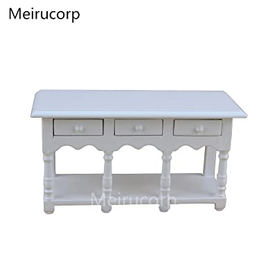 Meirucorp Dolls house1/12th Scale Miniature White Kitchen Table: Toys & Games