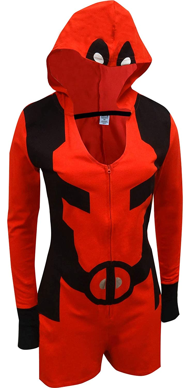 3bf5d1934e3 Amazon.com  Marvel Comics Deadpool One Piece Romper With Hood For Women  (Large)  Clothing