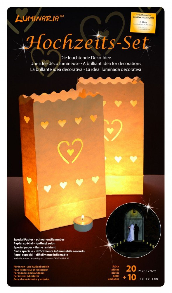 Hochzeits-Set - 20 große und 10 kleine Tüten mit Herz - original Luminaria