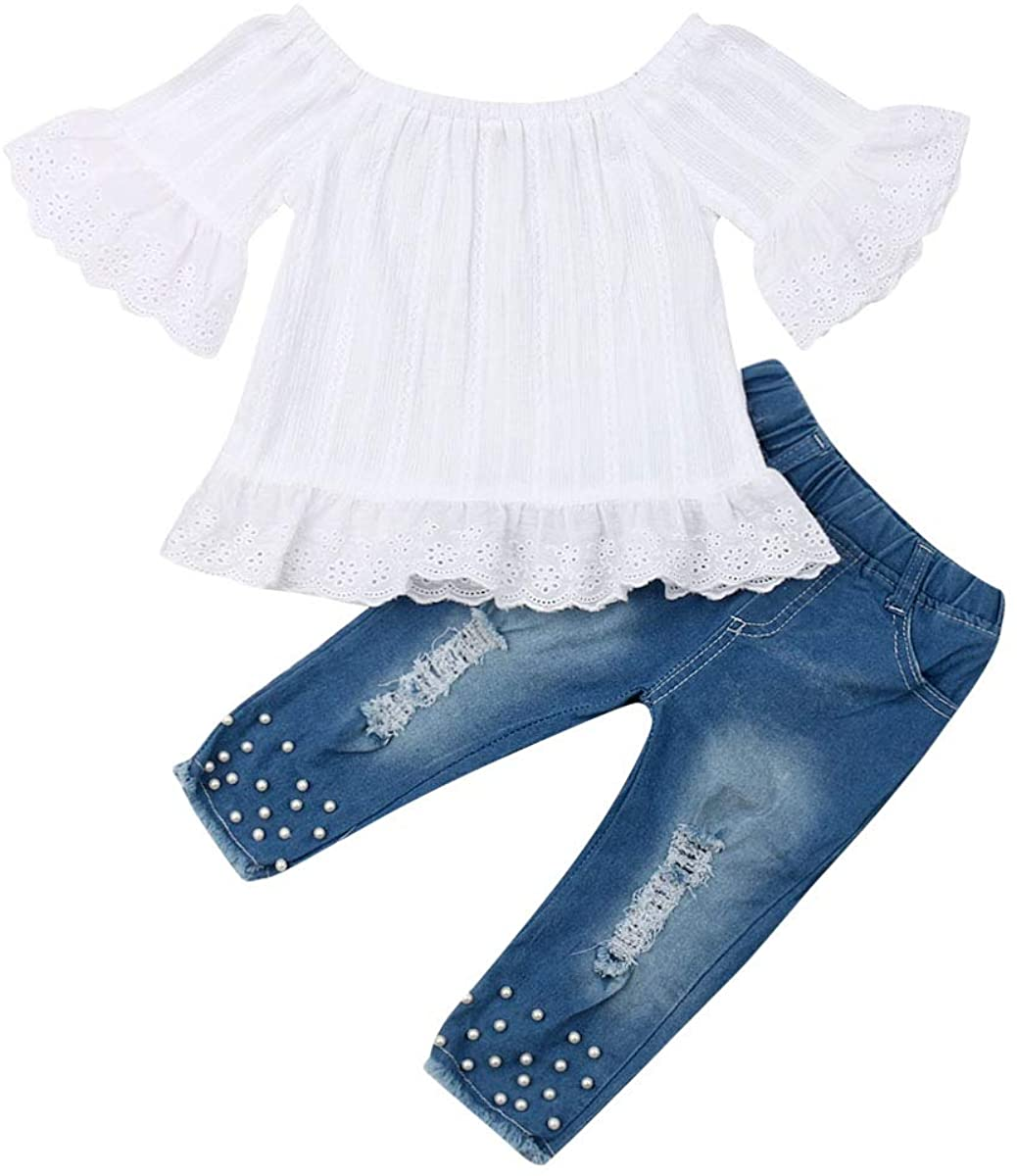 Kids Little Girls Ruffle Floral Cami Tops Off Shoulder Shirt Ripped Pants Outfit Clothes Set